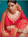 photo of Red Color Art Silk Fabric Fancy Embroidery Work Sangeet Wear Saree