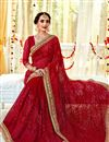 photo of Fancy Embroidery Work Red Color Party Wear Saree In Georgette Fabric