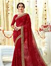image of Fancy Embroidery Work Red Color Party Wear Saree In Georgette Fabric