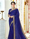 image of Blue Color Georgette Fabric Fancy Embroidery Work Function Wear Saree