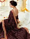 photo of Brown Color Georgette Fabric Wedding Wear Saree With Embroidery Work
