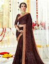image of Embroidery Work On Brown Color Designer Saree In Georgette Fabric