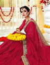 photo of Occasion Wear Georgette Fabric Embroidered Saree In Red Color
