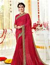 image of Occasion Wear Georgette Fabric Embroidered Saree In Red Color