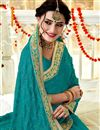 photo of Georgette Fabric Dark Cyan Color Festive Saree With Embroidery Work