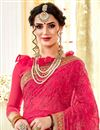 photo of Pink Color Georgette Fabric Function Wear Saree With Embroidery Work