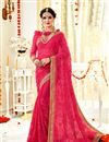 image of Pink Color Georgette Fabric Function Wear Saree With Embroidery Work