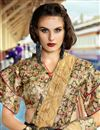 photo of Beige Color Party Wear Saree In Art Silk Fabric With Embroidery Work