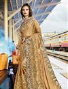 image of Beige Color Party Wear Saree In Art Silk Fabric With Embroidery Work