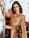 photo of Embroidery Work On Art Silk Fabric Light Brown Color Function Wear Saree