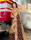 image of Embroidery Work On Art Silk Fabric Light Brown Color Function Wear Saree