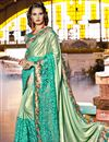 image of Sea Green Color Art Silk Fabric Wedding Wear Saree With Embroidery Work