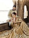 photo of Beige Function Wear Crepe Silk And Net Fabric Embroidered Saree