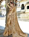 image of Beige Function Wear Crepe Silk And Net Fabric Embroidered Saree