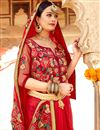 photo of Embroidered Red Color Georgette Fabric Party Wear Saree