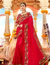 image of Embroidered Red Color Georgette Fabric Party Wear Saree