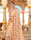 image of Chikoo Color Georgette Fabric Festive Wear Saree With Embroidery Work