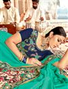 photo of Festive Wear Saree With Embroidery Work In Georgette Fabric Cyan Color