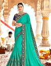 image of Festive Wear Saree With Embroidery Work In Georgette Fabric Cyan Color