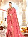 image of Embroidered Wedding Wear Saree In Georgette Fabric Pink Color