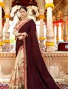 image of Brown Color Sangeet Wear Saree With Embroidery Work In Georgette Fabric