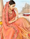 photo of Georgette Fabric Fancy Embroidery Work Reception Wear Salmon Color Saree