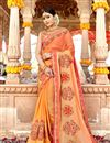 image of Georgette Fabric Fancy Embroidery Work Reception Wear Salmon Color Saree