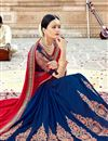 photo of Red Color Function Wear Saree In Georgette Fabric With Fancy Embroidery Work