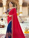 image of Red Color Function Wear Saree In Georgette Fabric With Fancy Embroidery Work