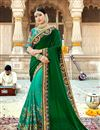 image of Georgette Fabric Dark Green Color Festive Wear Saree With Embroidery Work