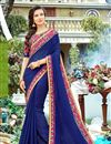 image of Embroidery Work On Art Silk Fabric Blue Color Saree For Mehendi Ceremony