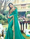 image of Embroidery Designs On Art Silk Fabric Dark Cyan Color Party Wear Saree With Mesmerizing Blouse