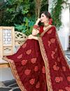 photo of Fancy Party Style Georgette Maroon Saree With Embroidery