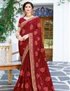 image of Fancy Party Style Georgette Maroon Saree With Embroidery