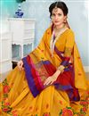 photo of Fancy Weaving Work Cotton Fabric Function Wear Traditional Saree In Mustard
