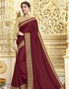 image of Party Style Georgette Designer Saree In Maroon With Fancy Border Work