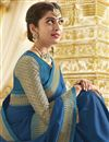 photo of Georgette Party Style Designer Blue Saree With Heavy Lace Border