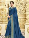 image of Georgette Party Style Designer Blue Saree With Heavy Lace Border
