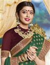 photo of Green Party Style Designer Saree In Georgette With Fancy Border Work