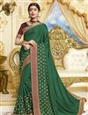 image of Green Party Style Designer Saree In Georgette With Fancy Border Work