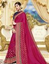image of Georgette Rani Color Party Style Designer Saree With Heavy Lace Border