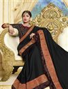 photo of Black Party Style Designer Georgette Saree With Heavy Lace Border