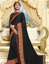 image of Black Party Style Designer Georgette Saree With Heavy Lace Border