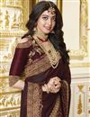photo of Party Style Brown Designer Saree In Georgette With Fancy Border Work