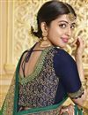 photo of Georgette Party Style Green Designer Saree With Heavy Lace Border