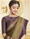 photo of Mehendi Green Georgette Party Style Designer Saree With Fancy Border Work