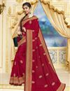 image of Party Style Georgette Designer Saree In Red With Heavy Lace Border