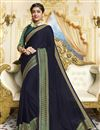 image of Georgette Party Style Designer Navy Blue Saree With Fancy Border Work