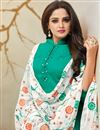photo of Cotton Silk Fabric Teal Festive Wear Palazzo Salwar Suit With Embroidery Work