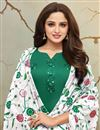photo of Dark Green Cotton Silk Fabric Party Wear Palazzo Suit With Embroidery Work